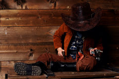 Brutal little cowboy Stock Photography