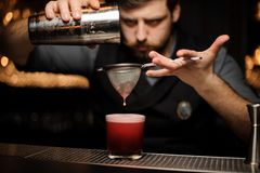 Bartender makes an alcohol drink using shaker and sieve. Brutal male bartender with beard makes a red alcohol drink using steel shaker and sieve at bar counter royalty free stock photography