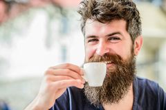 Brutal male needs morning refreshment. morning breakfast. drink espresso coffee. Happy. Mature hipster with beard hair stock images