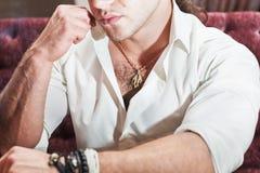 Brutal man lips hands Stock Photo