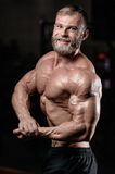 Brutal muscular man with beard unshaven fitness model healthcare. Brutal muscular man with beard train in the gym unshaven fitness model healthcare lifestyle Stock Photos