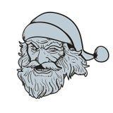 Brutal Santa face hand drawn. Vector illustration Stock Images