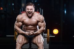 Brutal strong bodybuilder athletic men pumping up muscles with d Stock Photos