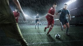 Brutal Soccer action on rainy 3d sport arena. mature player with ball stock photos