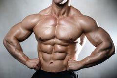 Brutal stark kroppsbyggaregamal man som poserar i studiogrå färgbackgrou Fotografering för Bildbyråer