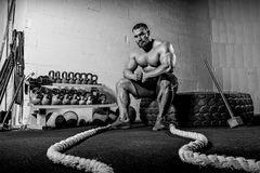 Brutal strong athletic men bodybuilder trains in the gym Royalty Free Stock Image