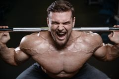 Brutal strong bodybuilder athletic men pumping up muscles with d. Brutal strong bodybuilder athletic fitness man pumping up abs muscles workout bodybuilding royalty free stock photography