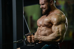 Brutal strong bodybuilder athletic men pumping up muscles with d Stock Photography