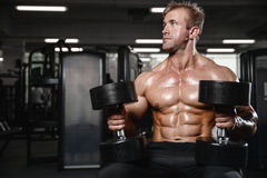 Brutal strong bodybuilder man pumping up muscles and train gym. Brutal strong athletic old man pumping up muscles and train in gym workout bodybuilding concept Royalty Free Stock Photos