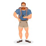 Brutal Young Bearded Hipster male in eyeglasses with a packsack travel and camera. Travelling with the knapsack. Vector Stock Photo