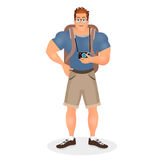 Brutal Young Bearded Hipster male in eyeglasses with a packsack travel and camera. Travelling with the knapsack. Vector Royalty Free Stock Photos