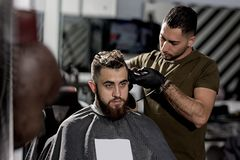 Brutal young man with beard sits at a barber shop. Barber in black gloves shaves hairs at the side. stock image
