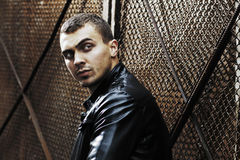 Brutal young sexual man in a leather jacket Royalty Free Stock Photography