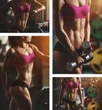 Brutale atletische vrouw die omhoog spieren pompen met Stock Afbeelding