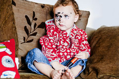 Brutale Baby met Make-up   Royalty-vrije Stock Fotografie