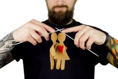 Brutale mens met baard en tatoegering Royalty-vrije Stock Afbeelding