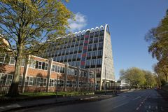 The brutalist & modernist `Toast Rack` building, formerly known. The brutalist & modernist `Toast Rack` building, formerly known as the Hollings Building in Royalty Free Stock Images