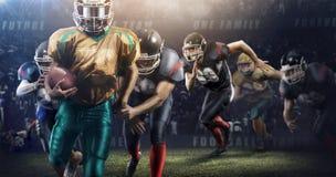Brutalna futbolowa akcja na 3d sporta arenie dojrzali gracze z piłką Zdjęcie Stock