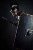 Brutalny wojownik z kordzikiem i osłoną Zdjęcia Royalty Free