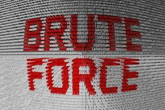 Brute force. In the form of binary code, 3D illustration Royalty Free Stock Image