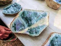 Brute jade at mandalay jade-market. Close-up of a brute jade stone at the jade-market in mandalay royalty free stock images