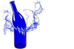 Bruten blåttflaska med färgstänk som isoleras på vit bakgrund Royaltyfria Bilder