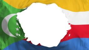 Bruten Comoros flagga royaltyfri illustrationer