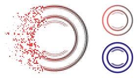 Bruten Dot Halftone Double Circle Frame symbol stock illustrationer