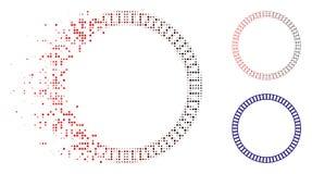 Bruten Dot Halftone Lined Double Circle ramsymbol royaltyfri illustrationer