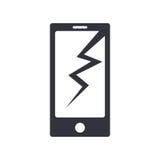 Bruten enkel vektorsymbol för telefon royaltyfri illustrationer