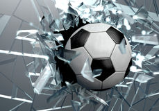 Bruten fotbollboll för exponeringsglas 3D Royaltyfri Foto