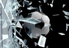 Bruten fotbollboll 2 för exponeringsglas 3D Arkivfoto