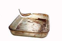 Bruten Glass bakningmaträtt Arkivfoto