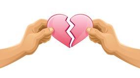 Bruten hjärta vektor illustrationer