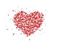 Bruten hjärta, små stycken, partiklar Abstrakt vektorillustration som isoleras på ljus bakgrund royaltyfri illustrationer