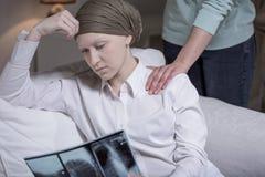 Bruten ner cancerkvinna Arkivbilder