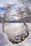 Bruten is på sjön Fusine och bergskedja Mangart Royaltyfri Fotografi