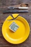 Bruten platta och pengar Royaltyfria Foton