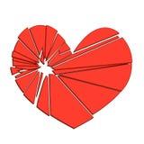 Bruten röd hjärta på en vit bakgrund Begrepp - skilsmässa, Royaltyfri Bild