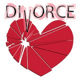 Bruten röd hjärta på en vit bakgrund Begrepp - skilsmässa som är separ Arkivfoto