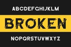 Bruten tekniskt felstilsort Modernt Sans Serif alfabet med distorsion Vektorstilsort med brutet royaltyfri illustrationer
