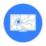 Bruten televisionsymbol i svart stil som isoleras på vit bakgrund Illustration för vektor för avfall- och avskrädesymbolmateriel Arkivbilder