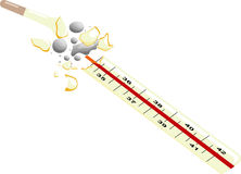 Bruten termometer med kvicksilver som ut hälls Royaltyfri Foto