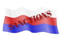 Bruten textsanktion på den Ryssland flaggan som vinkar i vinden Sanktioner på det Ryssland begreppet Sanktioner för Ryssland hand Royaltyfria Bilder