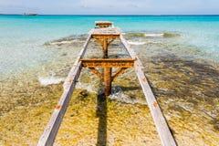 Bruten träFormentera för pirIlletes strand ö Royaltyfri Fotografi