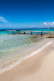 Bruten träFormentera för pirIlletes strand ö Royaltyfri Foto