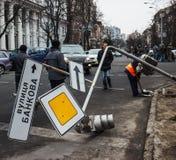 Bruten trafikljus efter sammanstötningar Arkivfoto