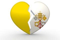 Bruten vit hjärtaform med den Vatican City flaggan Royaltyfri Foto