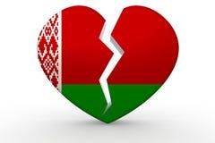 Bruten vit hjärtaform med den Vitryssland flaggan vektor illustrationer