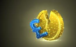 Brutet brittiskt pund Färgrik illustration 3d för guld- mynt Polygonal vektoraffär, pengar, instabil finans, marknad royaltyfri illustrationer